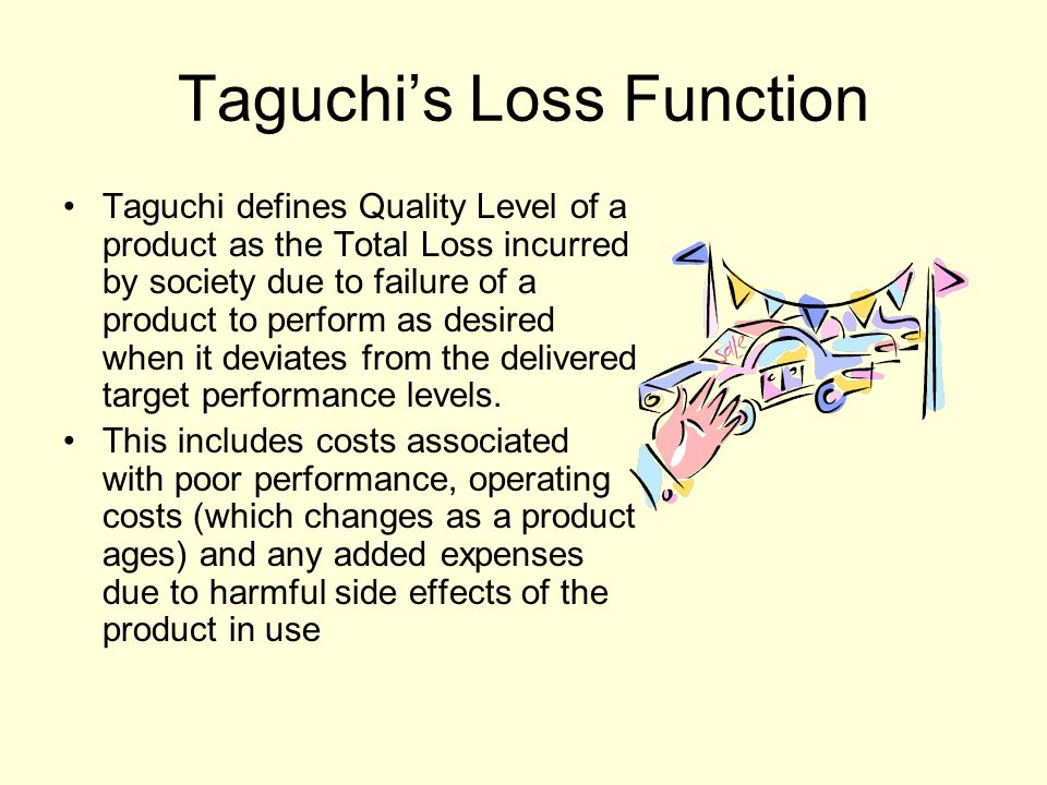 Taguchi's Loss Function Taguchi defines Quality Level of a product as the Total Loss incurred by society due to failure of a product to perform as des