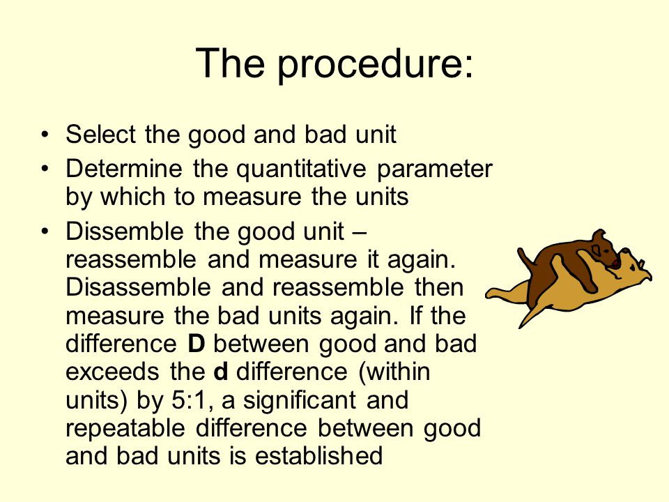 The procedure: Select the good and bad unit Determine the quantitative parameter by which to measure the units Dissemble the good unit – reassemble an