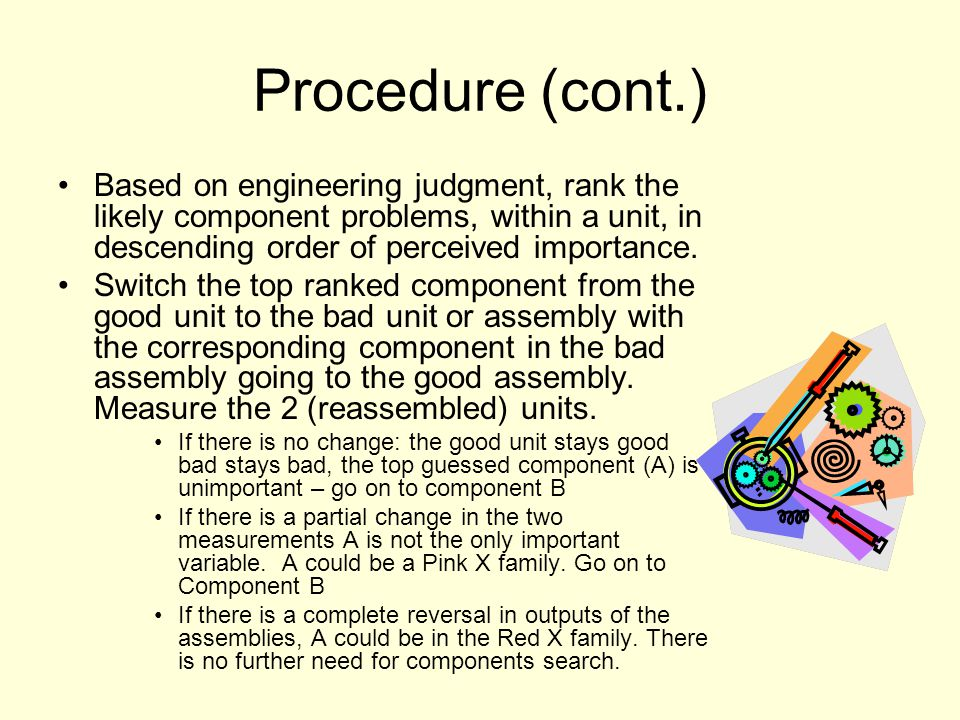 Procedure (cont.) Based on engineering judgment, rank the likely component problems, within a unit, in descending order of perceived importance.
