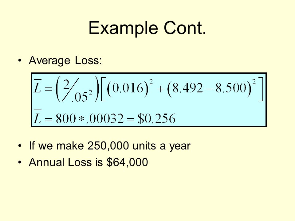 Example Cont. Average Loss: If we make 250,000 units a year Annual Loss is $64,000