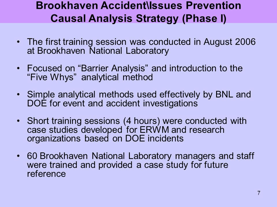 """7 The first training session was conducted in August 2006 at Brookhaven National Laboratory Focused on """"Barrier Analysis"""" and introduction to the """"Fiv"""