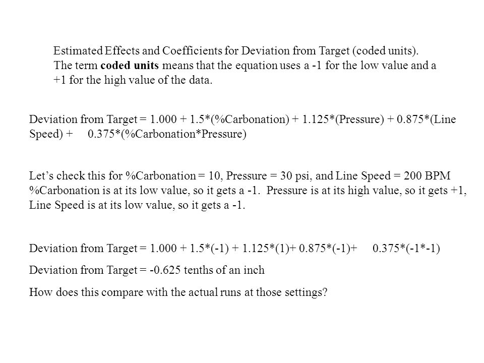 Estimated Effects and Coefficients for Deviation from Target (coded units). The term coded units means that the equation uses a -1 for the low value a