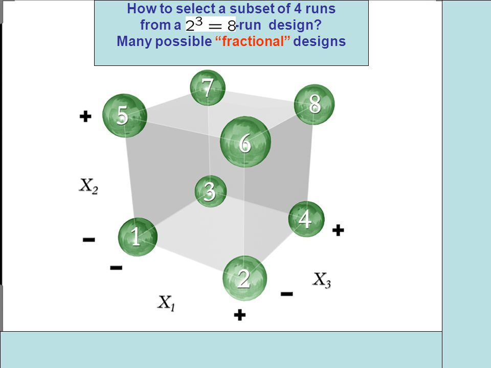 How to select a subset of 4 runs from a -run design Many possible fractional designs
