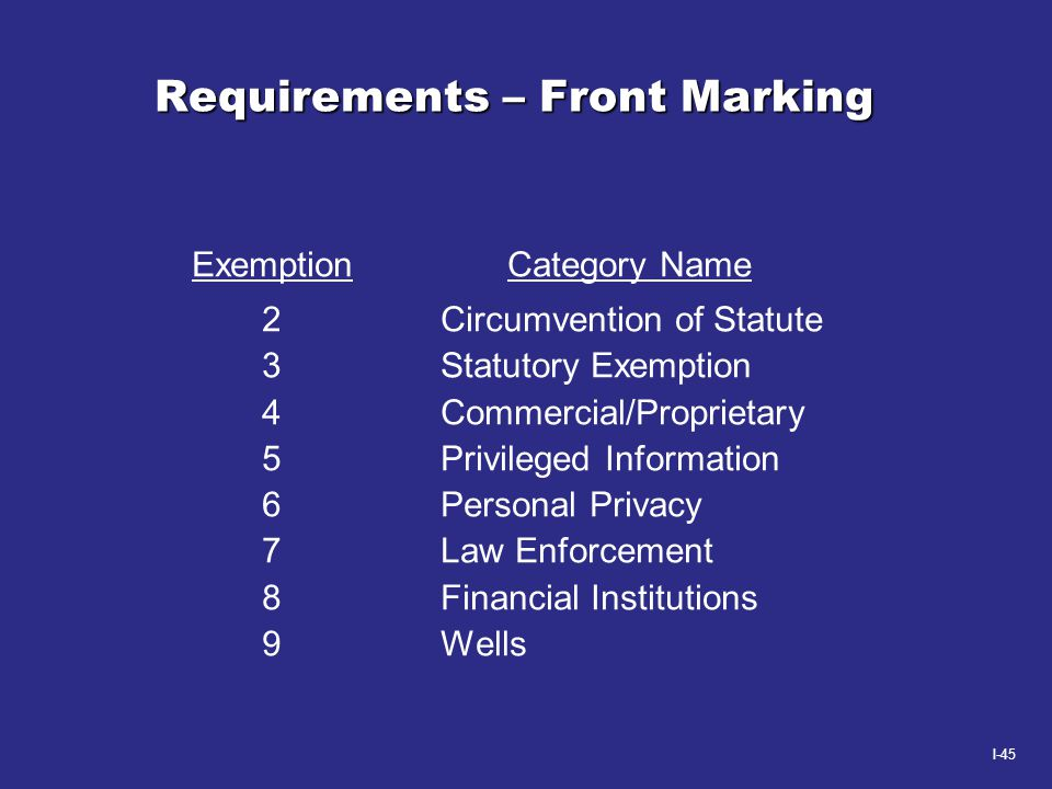 I-45 Requirements – Front Marking Exemption Category Name 2 Circumvention of Statute 3 Statutory Exemption 4 Commercial/Proprietary 5 Privileged Infor