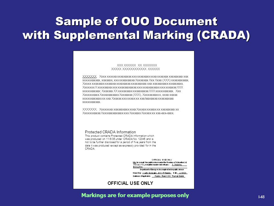I-48 Sample of OUO Document with Supplemental Marking (CRADA) OFFICIAL USE ONLY XXX XXXXXX XX XXXXXXX XXXXX XXXXXXXXXXXX XXXXXX XXXXXXX. Xxxx xxxxxx x