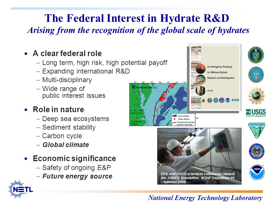 National Energy Technology Laboratory The Federal Interest in Hydrate R&D Arising from the recognition of the global scale of hydrates  A clear federal role  Long term, high risk, high potential payoff  Expanding international R&D  Multi-disciplinary  Wide range of public interest issues  Role in nature  Deep sea ecosystems  Sediment stability  Carbon cycle  Global climate  Economic significance  Safety of ongoing E&P  Future energy source DOE and USGS scientists collaborate aboard the JOIDES Resolution: NGHP Expedition 01 - Summer 2006