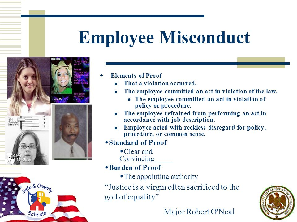Employee Misconduct  Elements of Proof That a violation occurred.