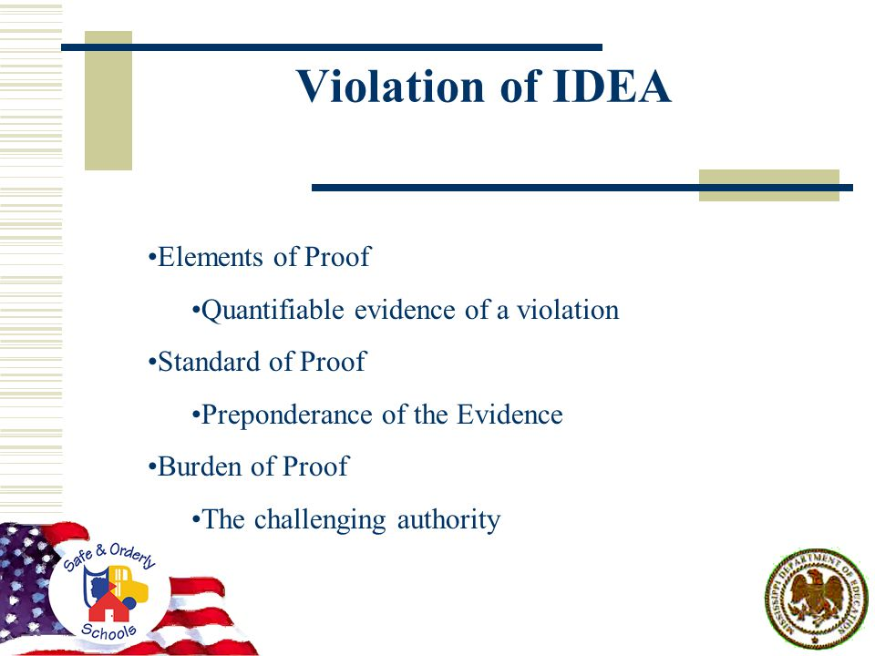 Violation of IDEA Elements of Proof Quantifiable evidence of a violation Standard of Proof Preponderance of the Evidence Burden of Proof The challenging authority