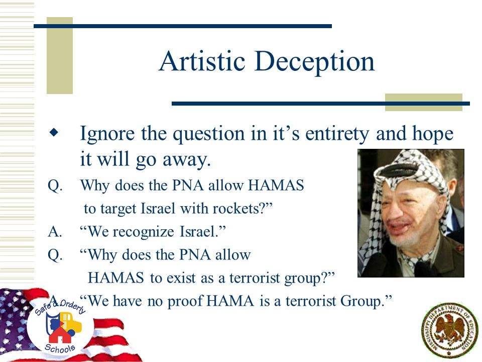 Artistic Deception  Ignore the question in it's entirety and hope it will go away.