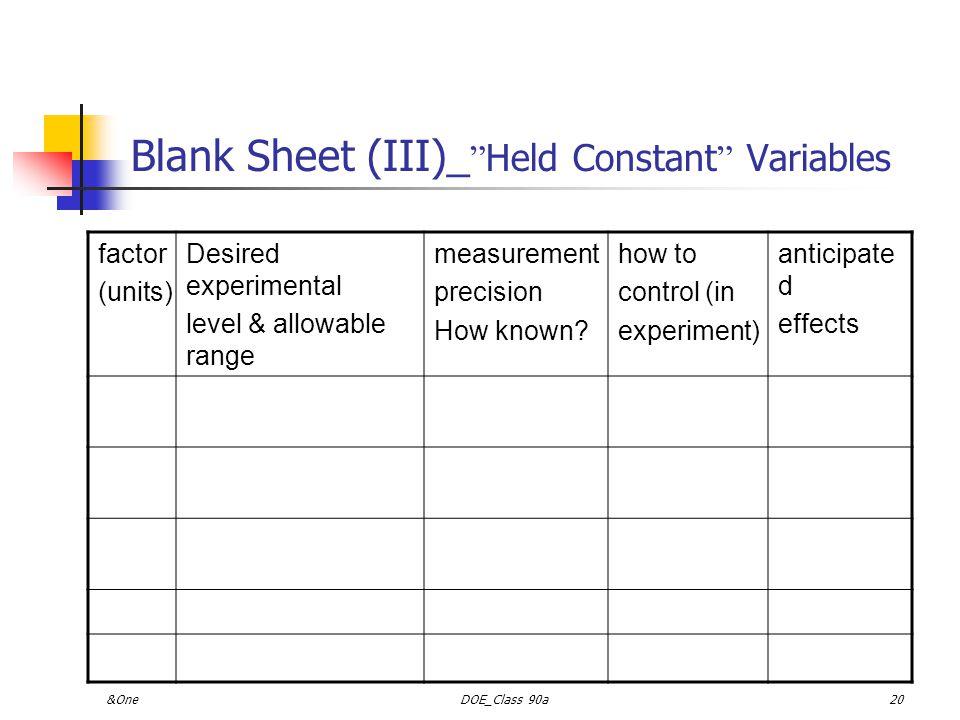 &OneDOE_Class 90a19 Blank Sheet (II)_Control Variables control variabl e (units) normal level & range meas.