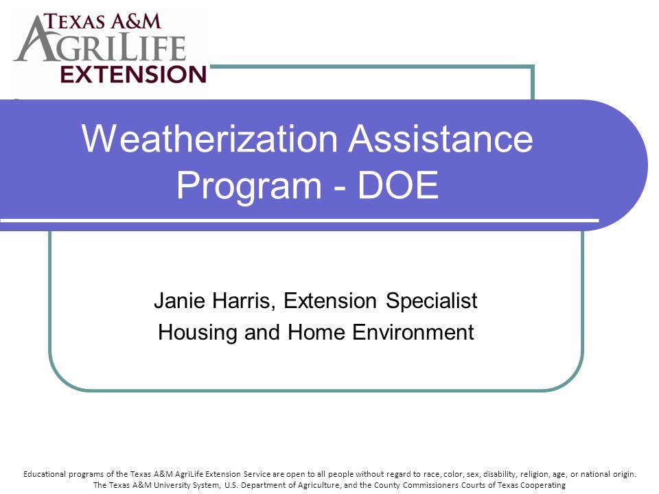 The 2009 Weatherization Assistance Program seems fairly straightforward.
