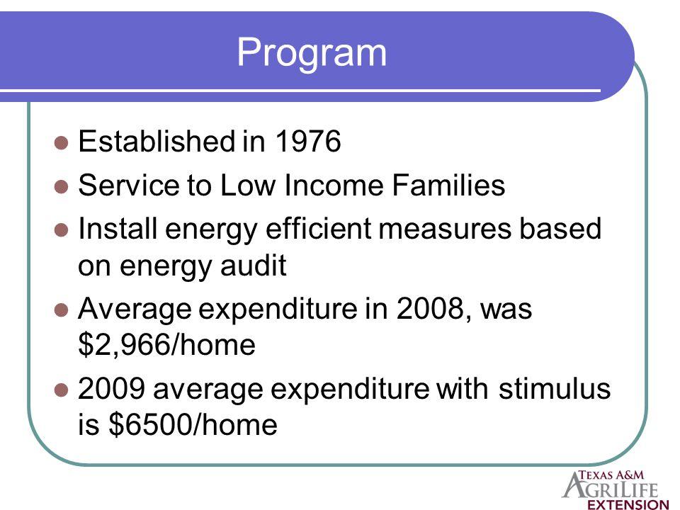 How to Apply http://www.eere.energy.gov/weatherizati on/apply.html#eligible http://www.eere.energy.gov/weatherizati on/apply.html#eligible http://www.tdhca.state.tx.us/pdf/ca/06- DOE-WAPStatePlan-060606.pdf http://www.tdhca.state.tx.us/pdf/ca/06- DOE-WAPStatePlan-060606.pdf Look on website for application