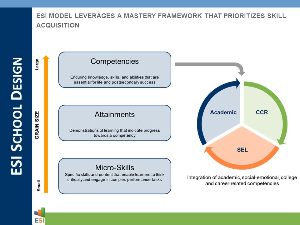 ESI S CHOOL D ESIGN ESI MODEL LEVERAGES A MASTERY FRAMEWORK THAT PRIORITIZES SKILL ACQUISITION