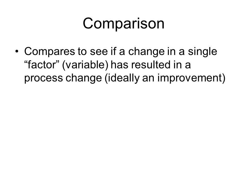 """Comparison Compares to see if a change in a single """"factor"""" (variable) has resulted in a process change (ideally an improvement)"""