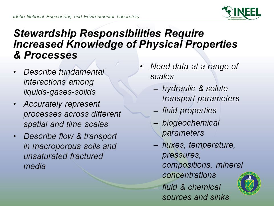 Idaho National Engineering and Environmental Laboratory Stewardship Responsibilities Require Increased Knowledge of Physical Properties & Processes Describe fundamental interactions among liquids-gases-solids Accurately represent processes across different spatial and time scales Describe flow & transport in macroporous soils and unsaturated fractured media Need data at a range of scales –hydraulic & solute transport parameters –fluid properties –biogeochemical parameters –fluxes, temperature, pressures, compositions, mineral concentrations –fluid & chemical sources and sinks