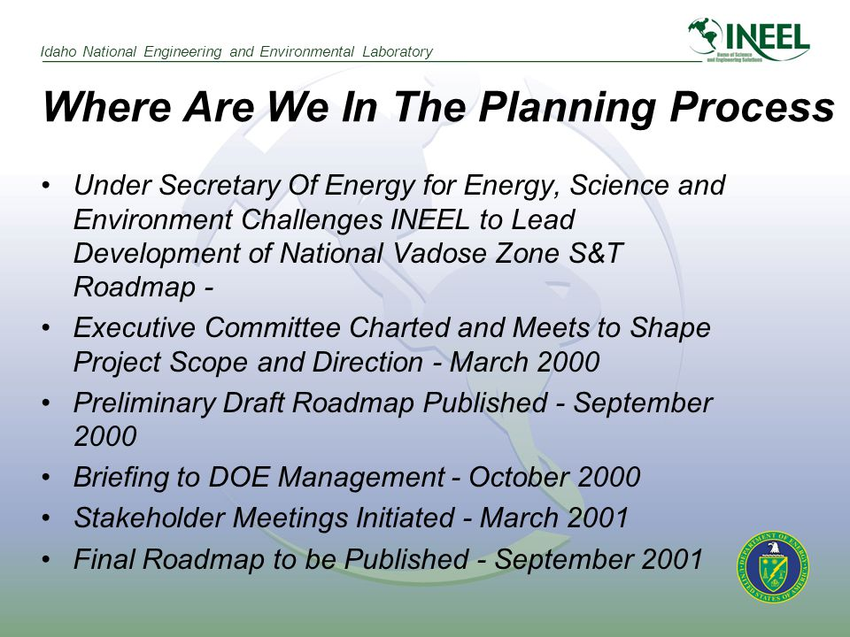 Idaho National Engineering and Environmental Laboratory Where Are We In The Planning Process Under Secretary Of Energy for Energy, Science and Environment Challenges INEEL to Lead Development of National Vadose Zone S&T Roadmap - Executive Committee Charted and Meets to Shape Project Scope and Direction - March 2000 Preliminary Draft Roadmap Published - September 2000 Briefing to DOE Management - October 2000 Stakeholder Meetings Initiated - March 2001 Final Roadmap to be Published - September 2001