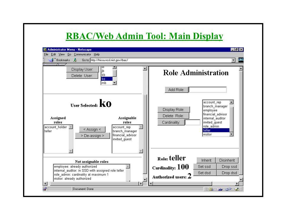 RBAC/Web Admin Tool: Main Display
