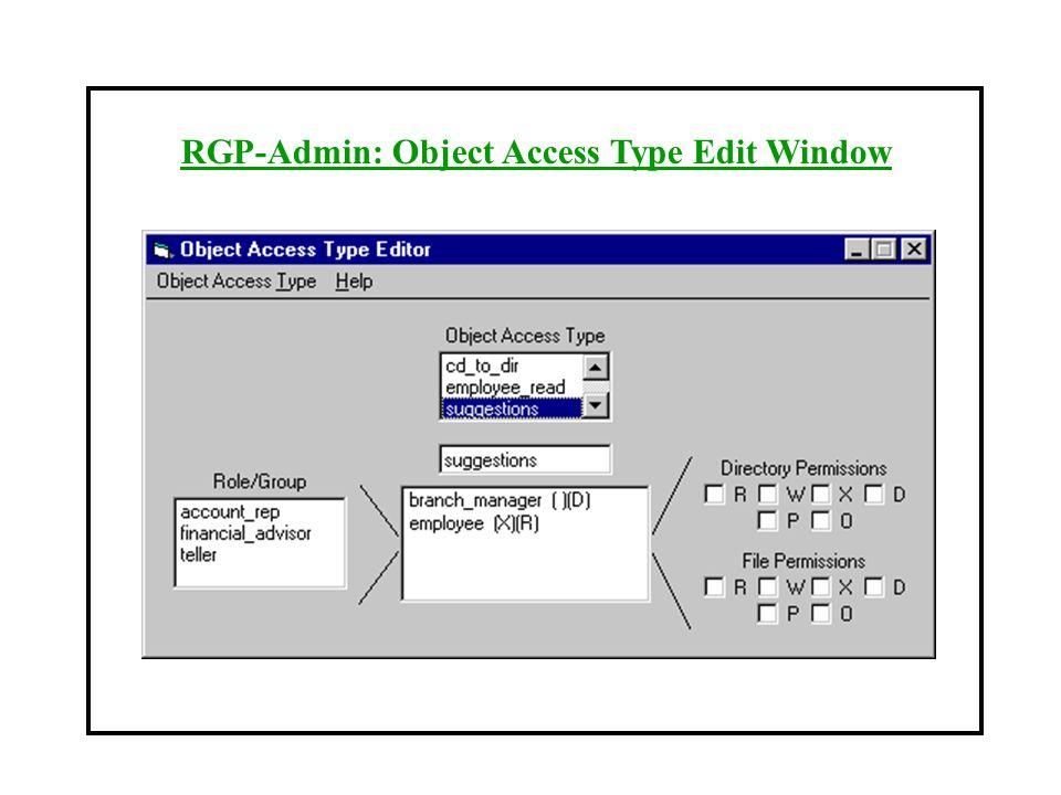 RGP-Admin: Object Access Type Edit Window