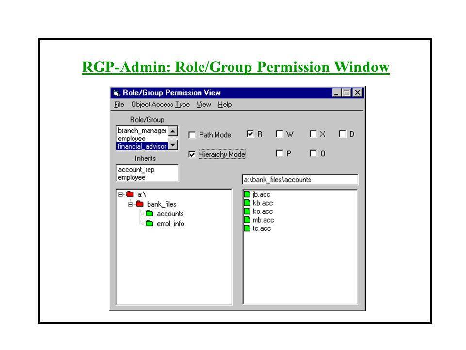 RGP-Admin: Role/Group Permission Window