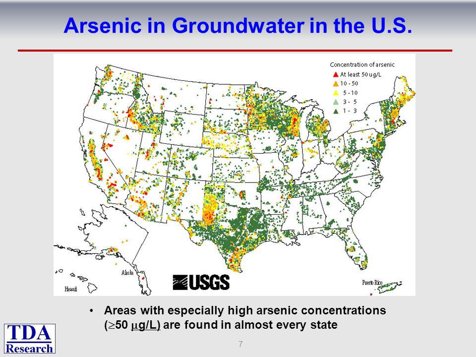 Chemical Forms of Aqueous Arsenic Many naturally occurring and anthropogenic sources of arsenic in the environment Sulfur is present because Eh-pH diagram is for waters in contact with As rich gold ores used to make As 2 O 3 CDI removes all ionic species, which includes many arsenic species 8 S.