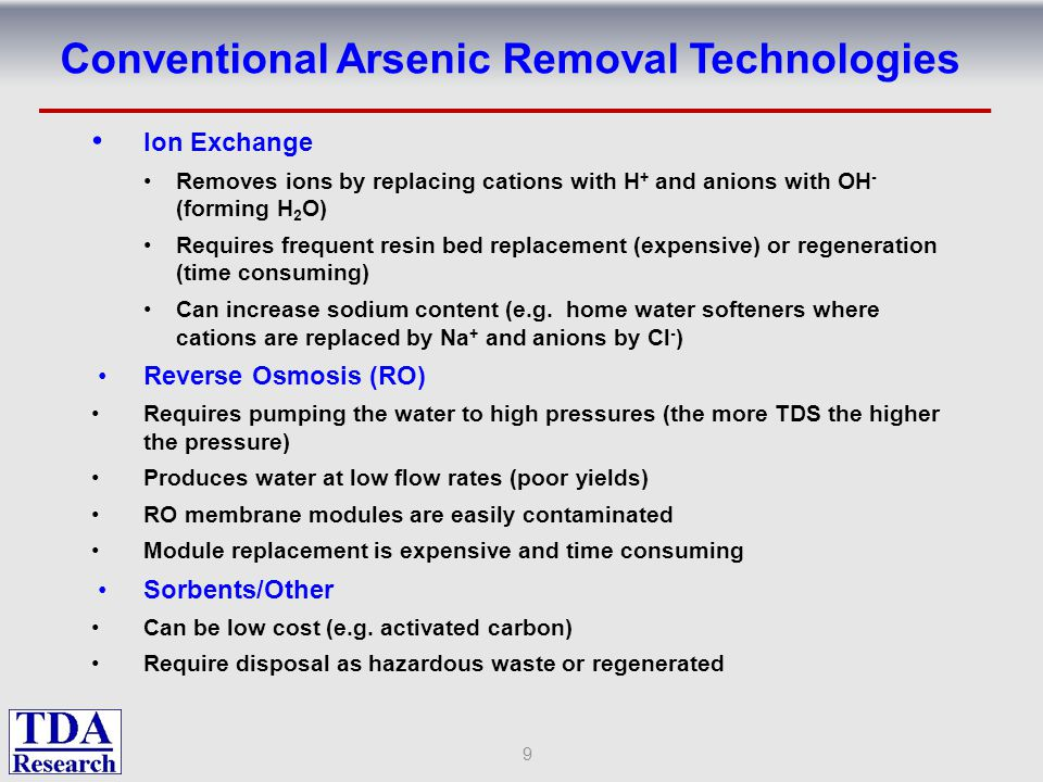 Ion Exchange Removes ions by replacing cations with H + and anions with OH - (forming H 2 O) Requires frequent resin bed replacement (expensive) or regeneration (time consuming) Some anions (e.g.
