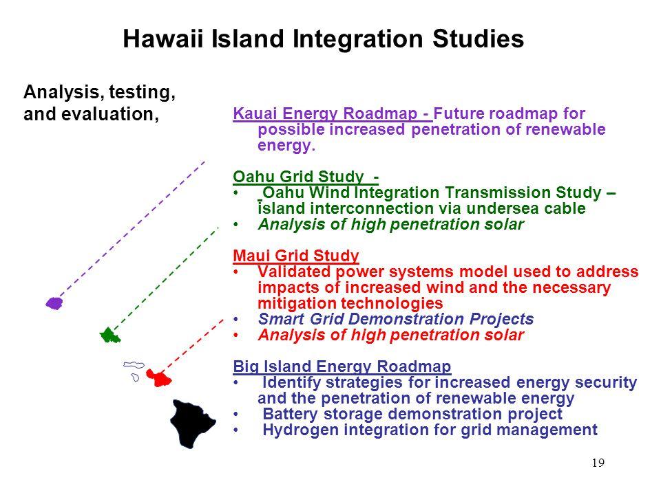 19 Kauai Energy Roadmap - Future roadmap for possible increased penetration of renewable energy. Oahu Grid Study - Oahu Wind Integration Transmission