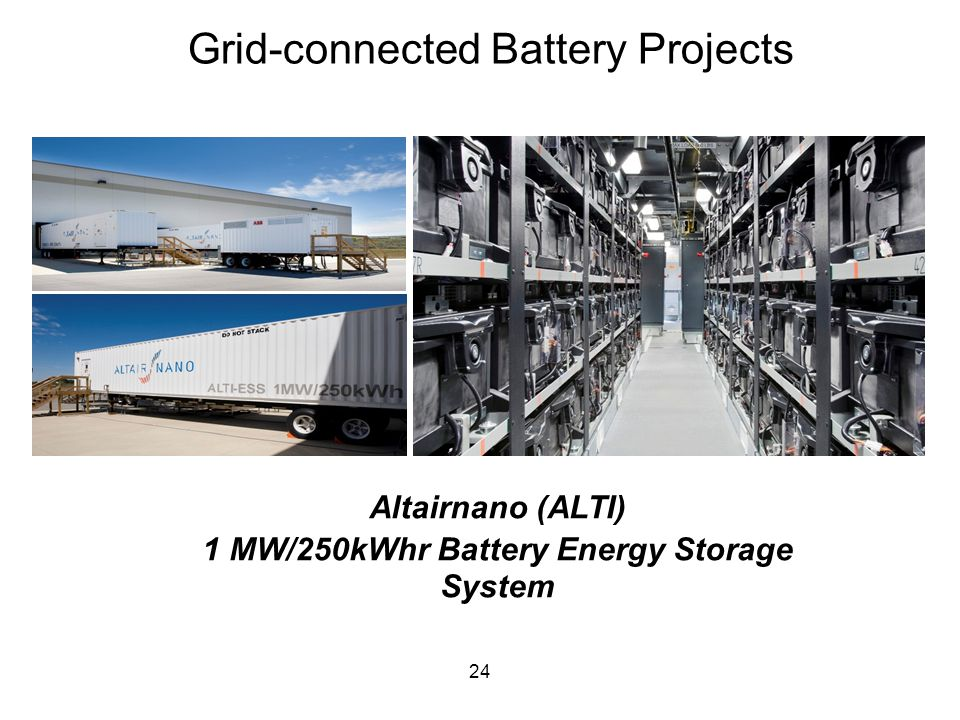 Grid-connected Battery Projects 24 Altairnano (ALTI) 1 MW/250kWhr Battery Energy Storage System