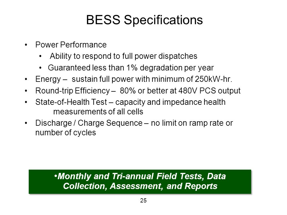 BESS Specifications Power Performance Ability to respond to full power dispatches Guaranteed less than 1% degradation per year Energy – sustain full p