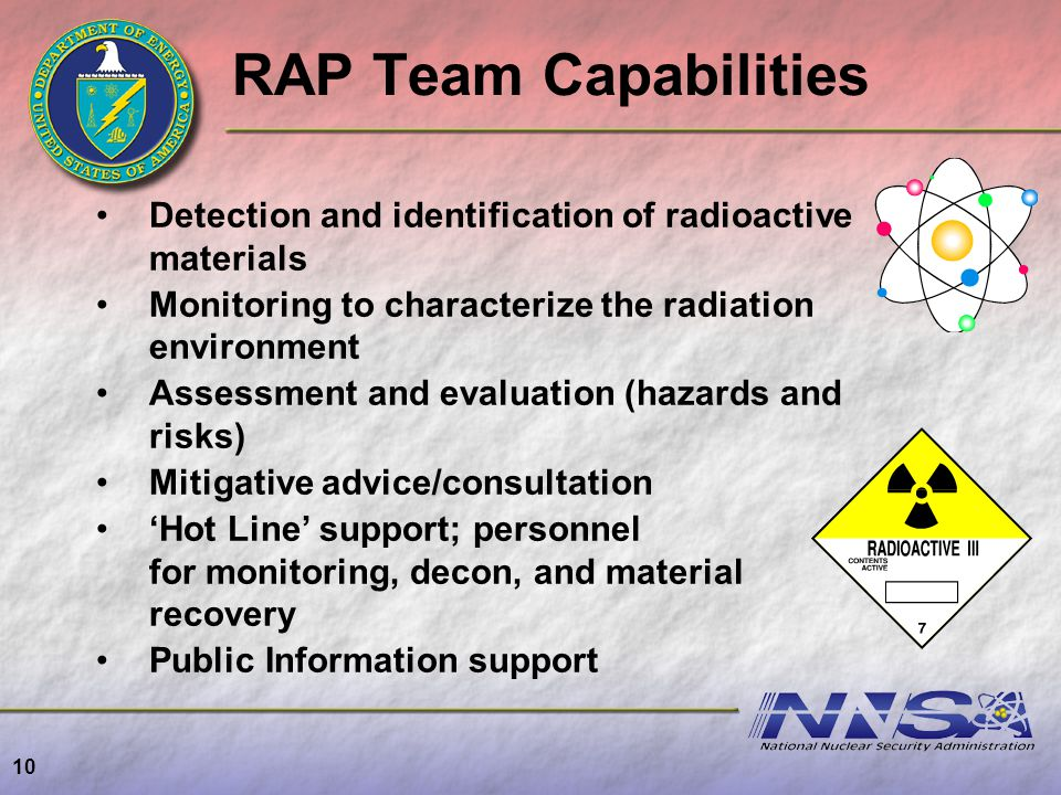 RAP Team Capabilities Detection and identification of radioactive materials Monitoring to characterize the radiation environment Assessment and evalua