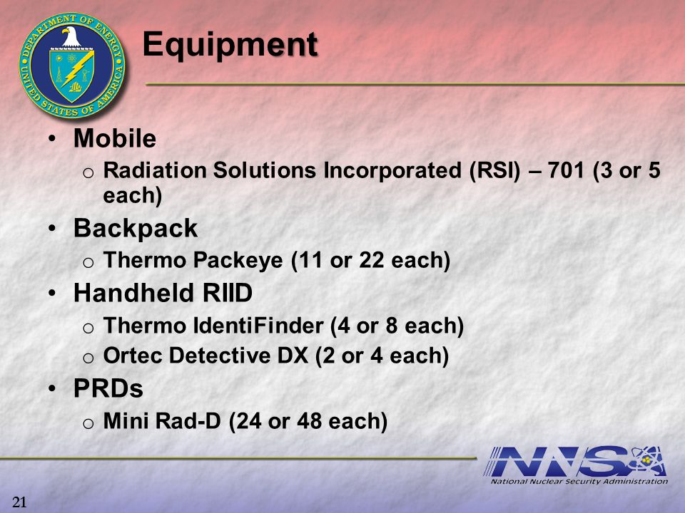 ent Equipment Mobile o o Radiation Solutions Incorporated (RSI) – 701 (3 or 5 each) Backpack o o Thermo Packeye (11 or 22 each) Handheld RIID o o Ther