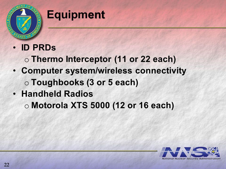 ID PRDs o o Thermo Interceptor (11 or 22 each) Computer system/wireless connectivity o o Toughbooks (3 or 5 each) Handheld Radios o o Motorola XTS 500