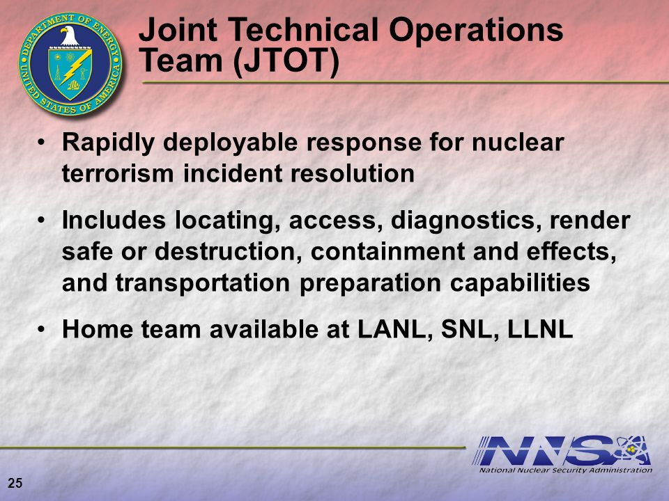 25 Rapidly deployable response for nuclear terrorism incident resolution Includes locating, access, diagnostics, render safe or destruction, containme