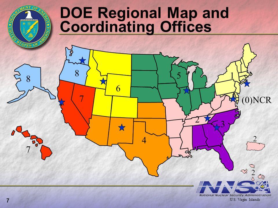 DOE Regional Map and Coordinating Offices 7 8 7 5 8 7 4 3 2 1 6 2 2 U.S. Virgin Islands (0)NCR