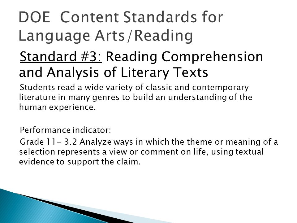 Standard #3: Reading Comprehension and Analysis of Literary Texts Students read a wide variety of classic and contemporary literature in many genres to build an understanding of the human experience.