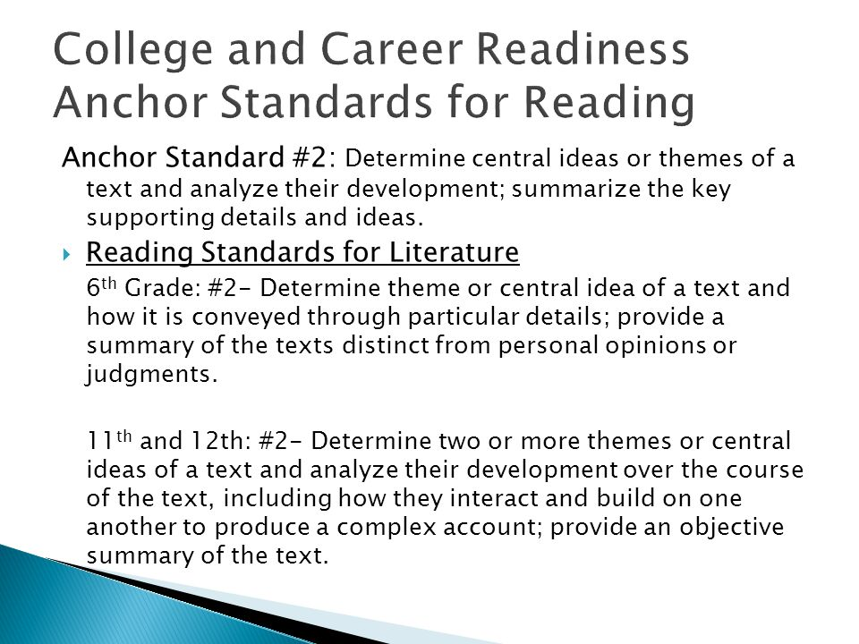 Anchor Standard #2: Determine central ideas or themes of a text and analyze their development; summarize the key supporting details and ideas.