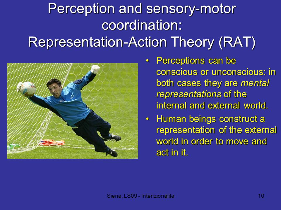 Siena, LS09 - Intenzionalità10 Perception and sensory-motor coordination: Representation-Action Theory (RAT) Perceptions can be conscious or unconscious: in both cases they are mental representations of the internal and external world.Perceptions can be conscious or unconscious: in both cases they are mental representations of the internal and external world.