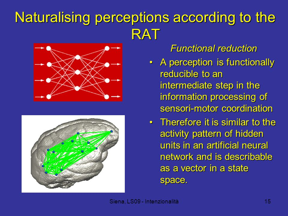 Siena, LS09 - Intenzionalità15 Naturalising perceptions according to the RAT Functional reduction A perception is functionally reducible to an intermediate step in the information processing of sensori-motor coordinationA perception is functionally reducible to an intermediate step in the information processing of sensori-motor coordination Therefore it is similar to the activity pattern of hidden units in an artificial neural network and is describable as a vector in a state space.Therefore it is similar to the activity pattern of hidden units in an artificial neural network and is describable as a vector in a state space.