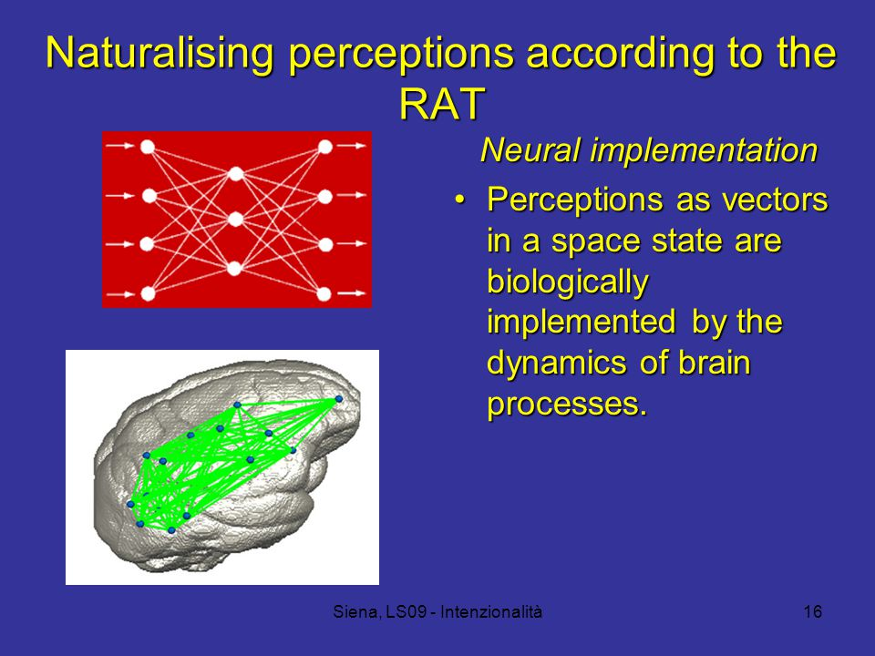 Siena, LS09 - Intenzionalità16 Naturalising perceptions according to the RAT Neural implementation Perceptions as vectors in a space state are biologically implemented by the dynamics of brain processes.Perceptions as vectors in a space state are biologically implemented by the dynamics of brain processes.