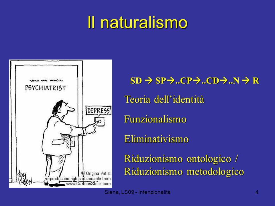 Siena, LS09 - Intenzionalità4 Il naturalismo SD  SP ..CP ..CD ..N  R Teoria dell'identità FunzionalismoEliminativismo Riduzionismo ontologico / Riduzionismo metodologico