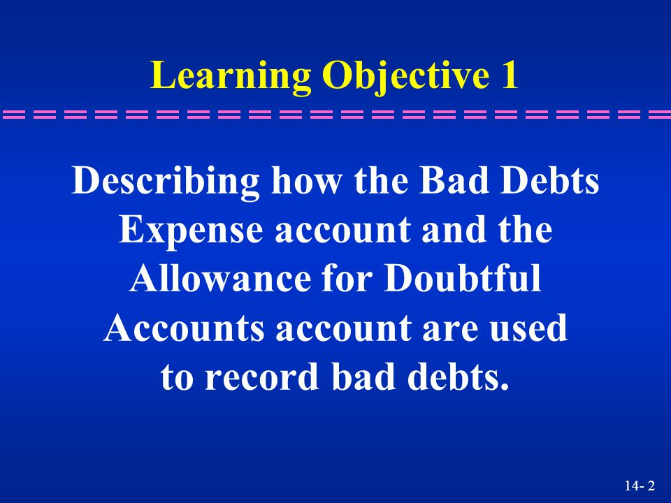 14- 23 Accounts Receivable, John Doe XXX Bad Debts Expense XXX To reinstate John Doe's account Accounts Receivable, John Doe XXX Bad Debts Expense XXX To reinstate John Doe's account CashXXX Accounts Receivable, John DoeXXX Received payment CashXXX Accounts Receivable, John DoeXXX Received payment Learning Unit 14-3 n How do we record a recovered debt the same year it was written off?