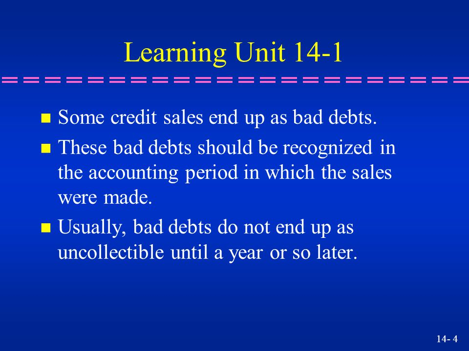 14- 15 Assume that the Allowance account has a credit balance of 1,000.