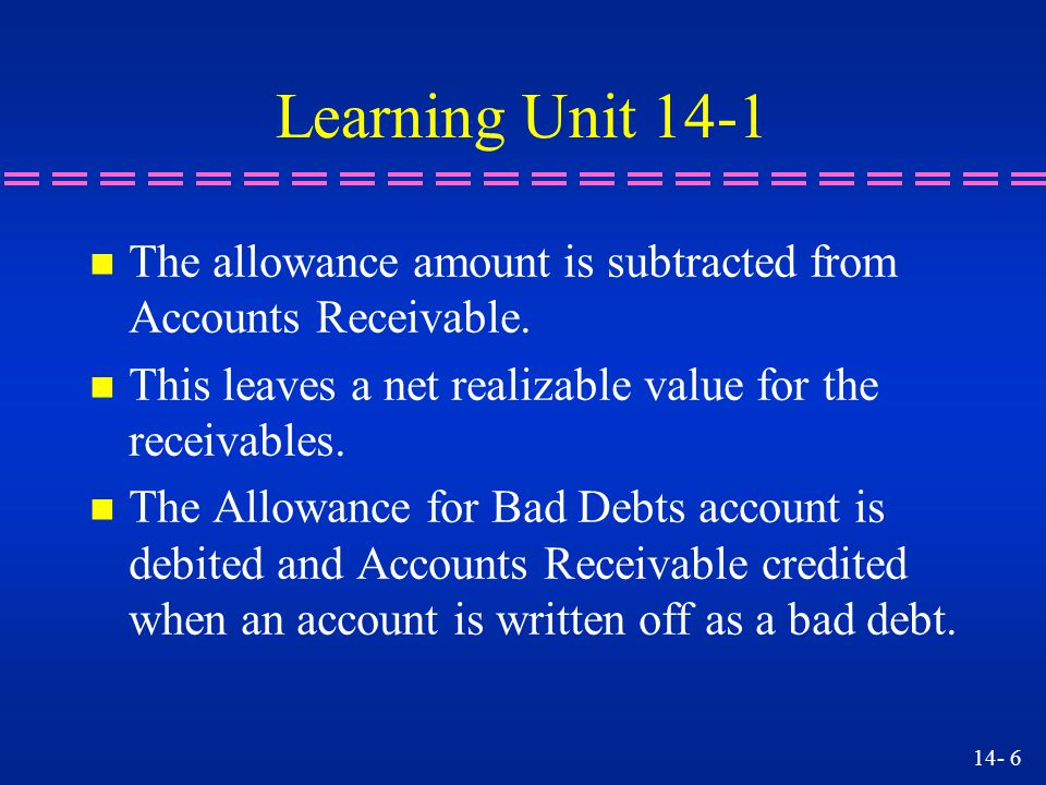 14- 17 Learning Objective 4 Writing off an account using the Allowance for Doubtful Accounts account.