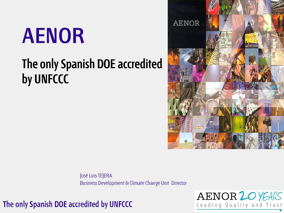 The only Spanish DOE accredited by UNFCCC José Luis TEJERA Business Development & Climate Change Unit Director AENOR The only Spanish DOE accredited by UNFCCC