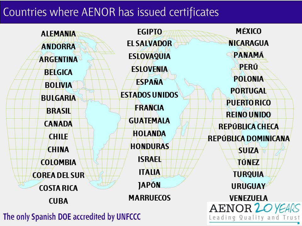 The only Spanish DOE accredited by UNFCCC Countries where AENOR has issued certificates ALEMANIA ANDORRA ARGENTINA BELGICA BOLIVIA BULGARIA BRASIL CANADA CHILE CHINA COLOMBIA COREA DEL SUR COSTA RICA CUBA MÉXICO NICARAGUA PANAMÁ PERÚ POLONIA PORTUGAL PUERTO RICO REINO UNIDO REPÚBLICA CHECA REPÚBLICA DOMINICANA SUIZA TÚNEZ TURQUIA URUGUAY VENEZUELA EGIPTO EL SALVADOR ESLOVAQUIA ESLOVENIA ESPAÑA ESTADOS UNIDOS FRANCIA GUATEMALA HOLANDA HONDURAS ISRAEL ITALIA JAPÓN MARRUECOS