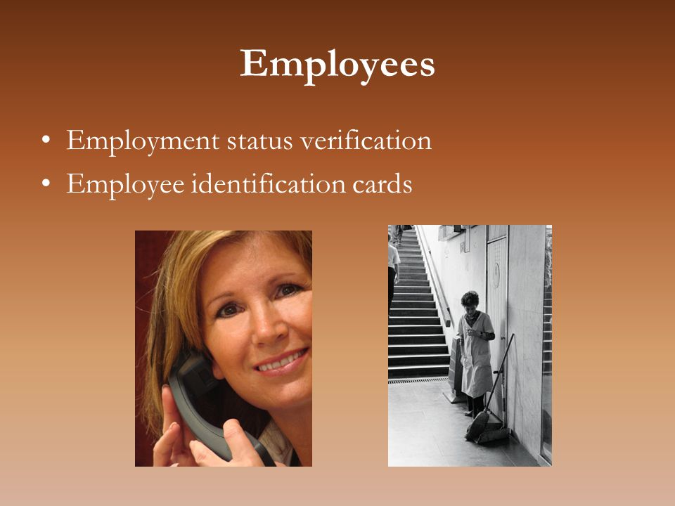 Employees Employment status verification Employee identification cards