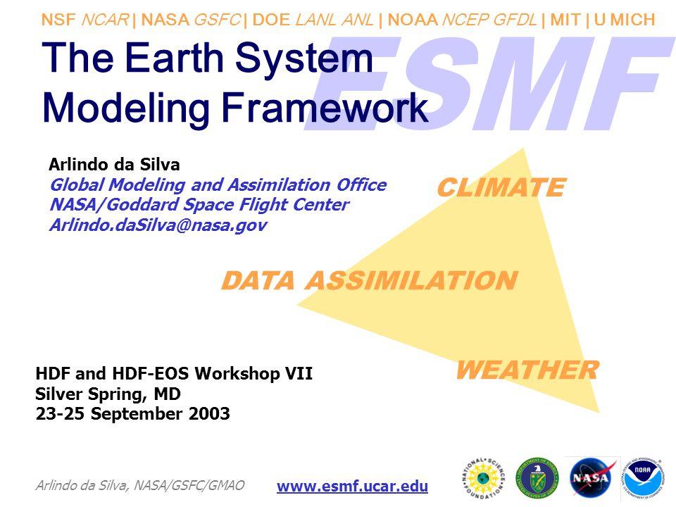 NSF NCAR | NASA GSFC | DOE LANL ANL | NOAA NCEP GFDL | MIT | U MICH Arlindo da Silva, NASA/GSFC/GMAO www.esmf.ucar.edu The Earth System Modeling Frame