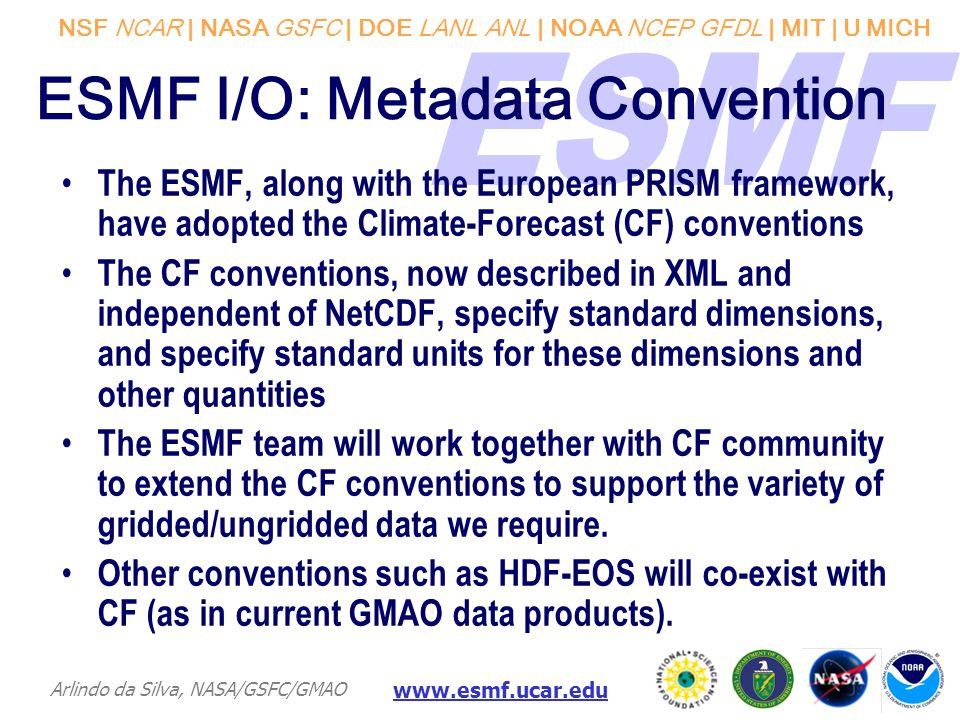 NSF NCAR | NASA GSFC | DOE LANL ANL | NOAA NCEP GFDL | MIT | U MICH Arlindo da Silva, NASA/GSFC/GMAO www.esmf.ucar.edu ESMF I/O: Metadata Convention T