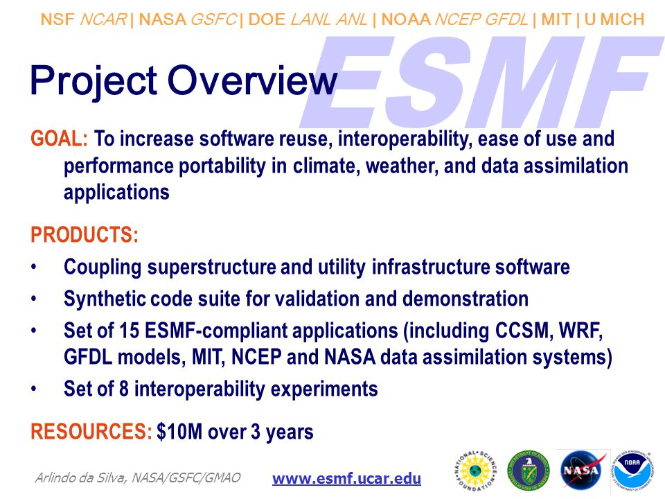 NSF NCAR | NASA GSFC | DOE LANL ANL | NOAA NCEP GFDL | MIT | U MICH Arlindo da Silva, NASA/GSFC/GMAO www.esmf.ucar.edu Project Overview GOAL: To increase software reuse, interoperability, ease of use and performance portability in climate, weather, and data assimilation applications PRODUCTS: Coupling superstructure and utility infrastructure software Synthetic code suite for validation and demonstration Set of 15 ESMF-compliant applications (including CCSM, WRF, GFDL models, MIT, NCEP and NASA data assimilation systems) Set of 8 interoperability experiments RESOURCES: $10M over 3 years