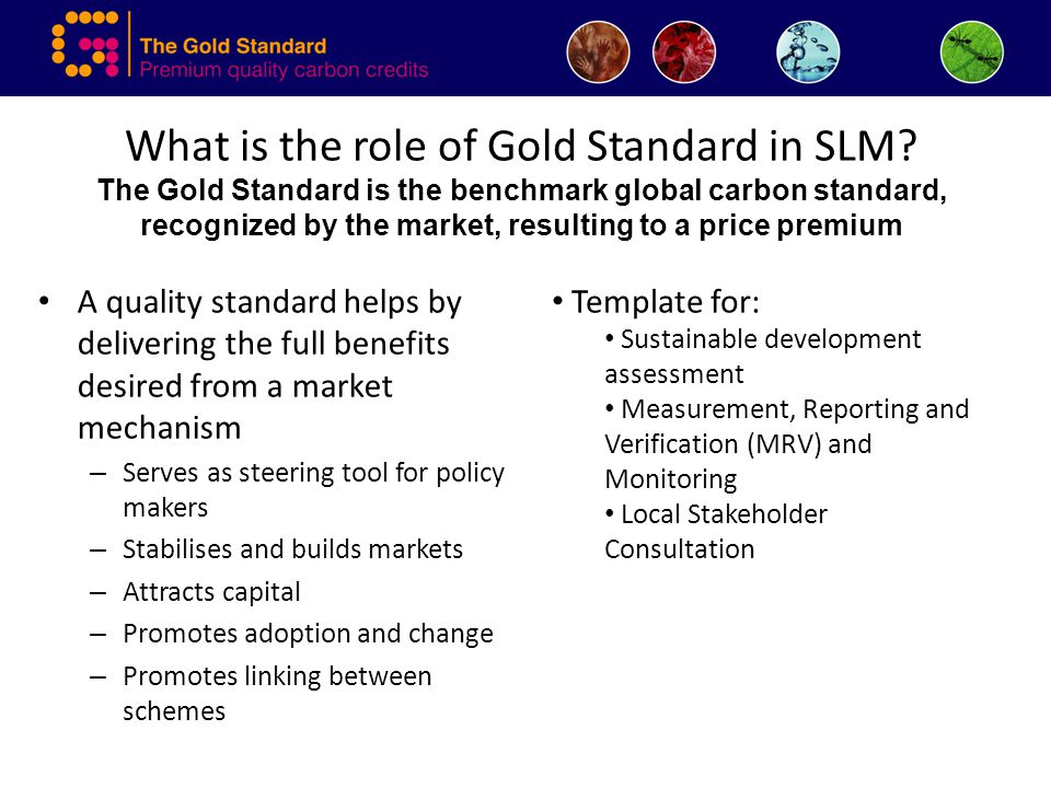 What is the role of Gold Standard in SLM? The Gold Standard is the benchmark global carbon standard, recognized by the market, resulting to a price pr