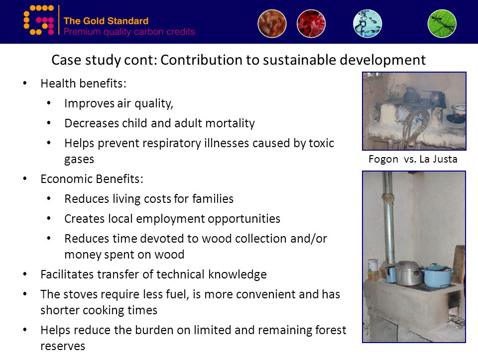 Case study cont: Contribution to sustainable development Health benefits: Improves air quality, Decreases child and adult mortality Helps prevent resp
